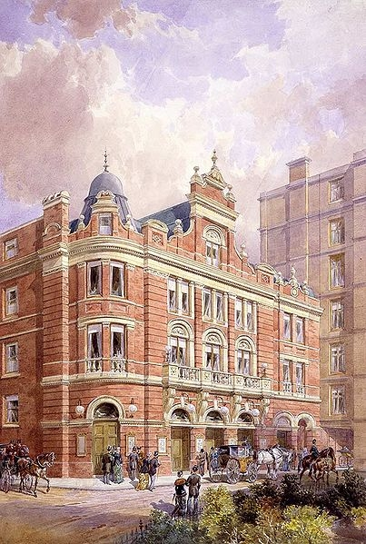The original facade of London's Savoy Theatre, 1881.