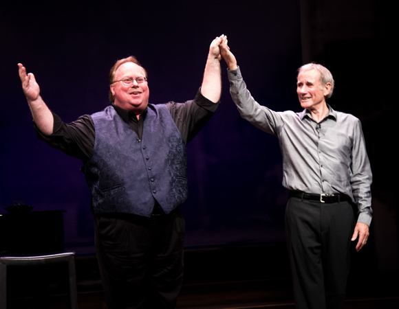 Pianist Mark York and star Jim Dale take their bow after the first performance of Just Jim Dale at the Laura Pels Theatre.