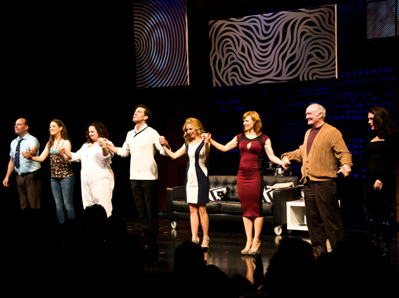 Andrew Polk, Allison Strong, Deirdre Friel, Matt Walton, Kerry Butler, Megan Sikora, Edward James Hyland, and Kate Loprest take their bows on the opening night of Under My Skin at the Little Shubert Theatre.
