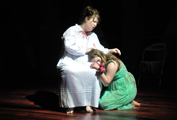 Kerry A. Dowling and Elizabeth Erardi as Margaret and Carrie White in the SpeakEasy Stage production of Carrie the Musical.