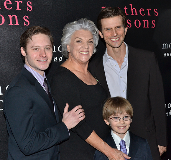 The cast of Mothers and Sons: Bobby Steggert, Tyne Daly, Frederick Weller, and Grayson Taylor.