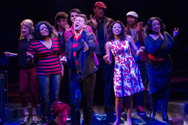 Levi Kreis (center) and the cast of Smokey Joe's Café, directed by Randy Johnson, at Washington, D.C.'s Arena Stage.