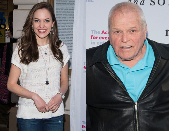 Laura Osnes and Brian Dennehy arrive for the show.