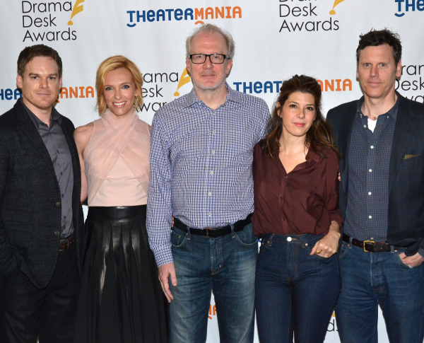 Michael C. Hall, Toni Collette, Tracy Letts, and Marisa Tomei star in Will Eno's The Realistic Joneses, directed by Sam Gold, at Broadway's Lyceum Theatre.