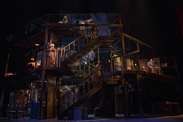 Beowulf Boritt's Tony-nominated set for Act One at Lincoln Center Theater is three stories tall, featuring a complicated series of stairs.
