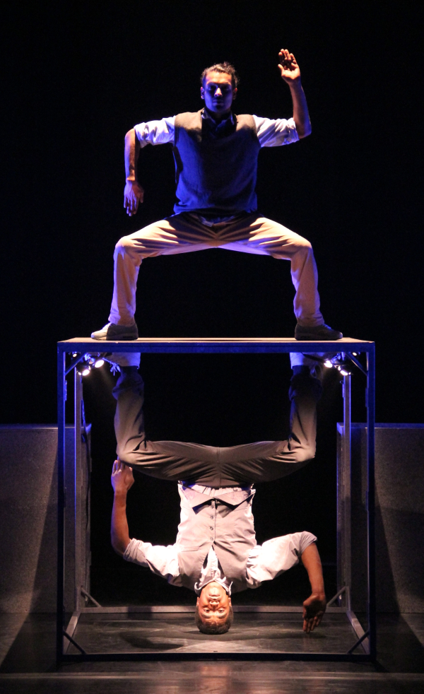 Shailesh Bahoran (top) and Carl Refos in HyperISH, directed by Marco Gerris, at the New Victory Theater.