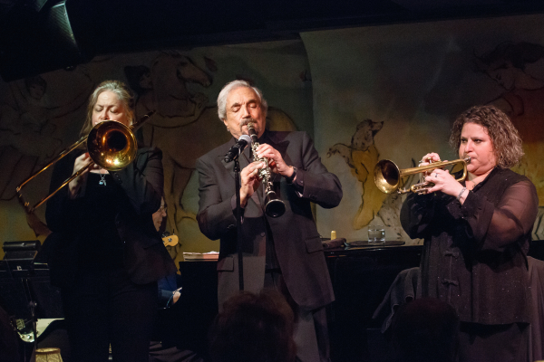 Hal Linden plays clarinet, flanked by Deborah Weisz on trombone and ...