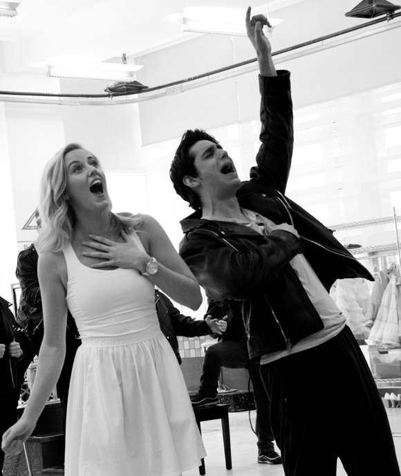 "Taylor Louderman (Sandy) and Bobby Conte Thornton (Danny) rehearse ""Summer Nights"" from Grease at the New 42nd Street Studios."