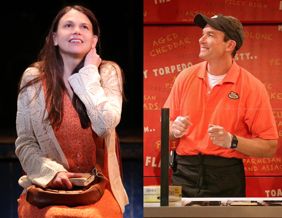 Scenes from Leigh Silverman's current projects: (left) Sutton Foster in Violet at the American Airlines Theatre and (right) Jerry O'Connell in American Hero at Second Stage Uptown.