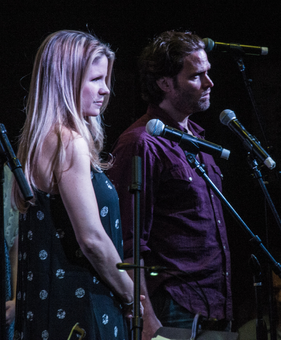 Kelli O'Hara and Steven Pasquale on stage at Barnes & Noble to celebrate the release of the Bridges of Madison County cast recording.