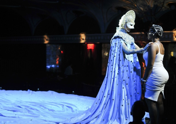 Fantasia (right) shares a moment with Queen of the Night's Marchesa, played by Katherine Crockett.