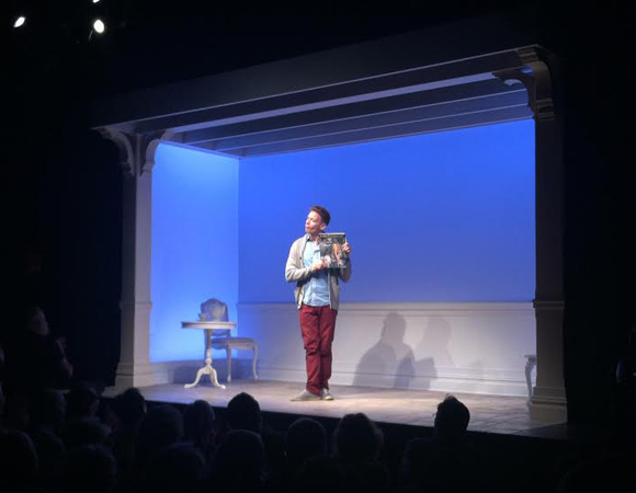 Barrett Foa takes his curtain call on his first night in Jonathan Tollins' Buyer & Cellar at the Barrow Street Theater.