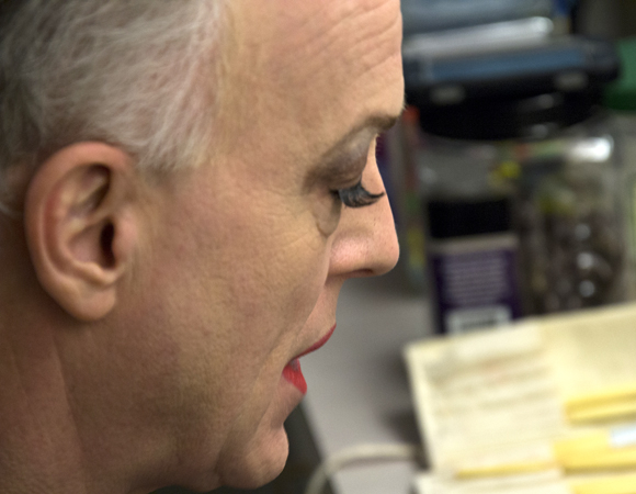 Reed Birney gets into makeup before a performance of Casa Valentina at the Samuel J. Friedman Theatre.