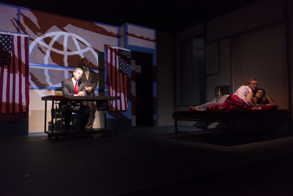 A scene from And to the Republic, a production of Guerrilla Shakespeare Project at the WorkShop Main Stage.