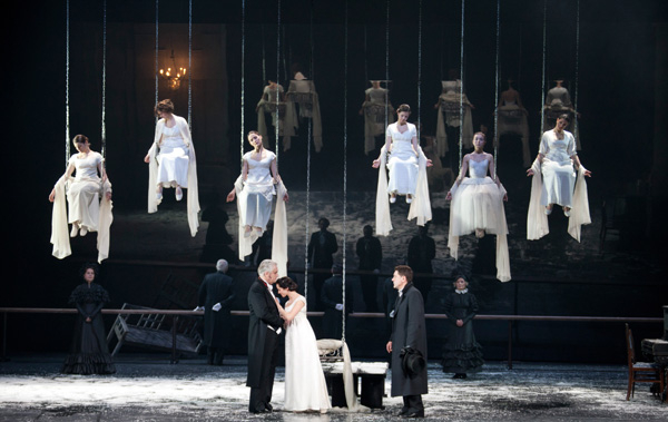 The company of Vakhtangov State Academic Theatre appears in Alexander Pushkin's Eugene Onegin, directed by Rimas Tuminas, at New York City Center.