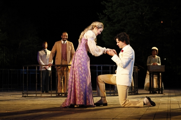Lily Rabe as Portia and Hamish Linklater as Bassanio in Daniel Sullivan's 2010 Shakespeare in the Park production of The Merchant of Venice.