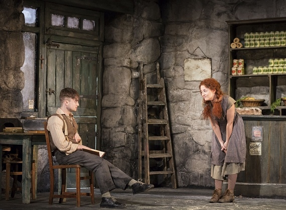 Daniel Radcliffe as Billy and Sarah Greene as Helen in Martin McDonagh's The Cripple of Inishmaan, directed by Michael Grandage, at the Cort Theatre on Broadway.