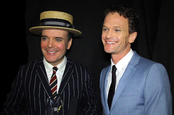 Co-winners of the Drama Desk Award for Outstanding Actor in a Musical, Jefferson Mays and Neil Patrick Harris, looked very happy at the after-party at the Liberty Theater.