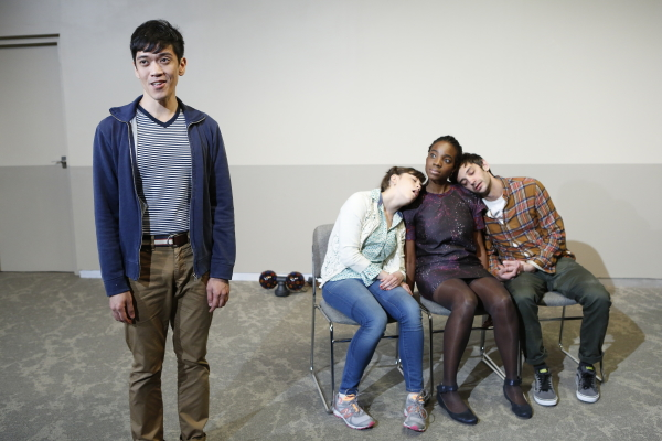 Moses Villarama, Susannah Flood, Rachel Christopher, and Dan Kublick in The Play Company's production of Toshiki Okada's The Sonic Life of a Giant Tortoise, directed by Dan Rothenberg, at Brooklyn's JACK.