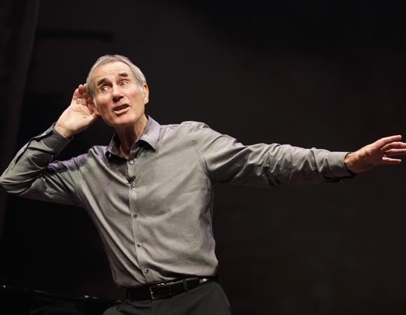 Jim Dale in a scene from Just Jim Dale, directed by Richard Maltby, Jr., at Roundabout Theatre Company's Laura Pels Theatre.