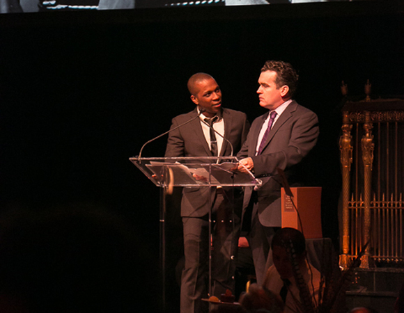 Leslie Odom Jr. and Brian d'Arcy James reading excerpts from an interview with Mark Twain.