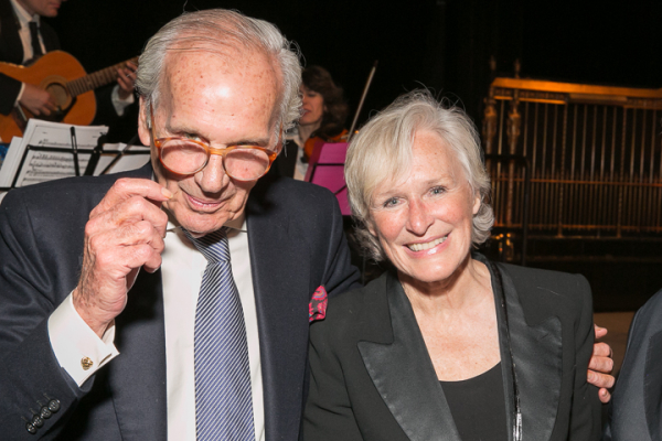 Lapham's Quarterly editor Lewis Lapham poses with guest Glenn Close.