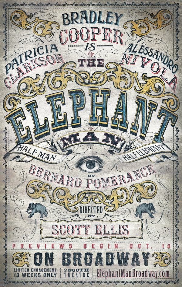 Artwork for the upcoming Bradley Cooper-led Broadway revivial of Bernard Pomerance's Tony-winning play, The Elephant Man.