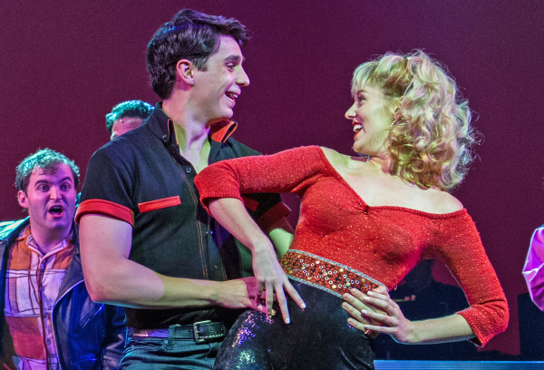 Bobby Conte Thornton and Taylor Louderman as Danny and Sandy in the Paper Mill Playhouse production of Grease, directed by Daniel Goldstein.