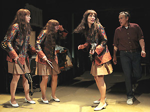 Sara Sokolovic, Emily Walton, Jamey Hood, and Peter Friedman in The Shaggs.