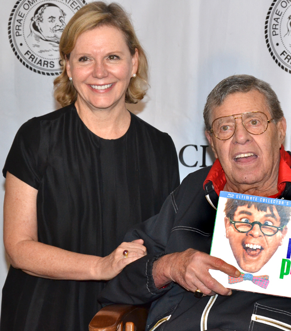 Terre Blair Hamlisch poses with Jerry Lewis at the Friars Club.