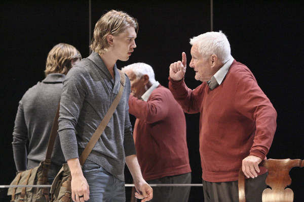 Austin Butler as Bradley and Orson Bean as Trumbull Sykes in Steven Drukman's Death of the Author, directed by Bart DeLorenzo, at the Geffen Playhouse.