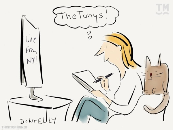 Liza Donnelly will be live-cartooning the Tonys via TheaterMania's Twitter account.