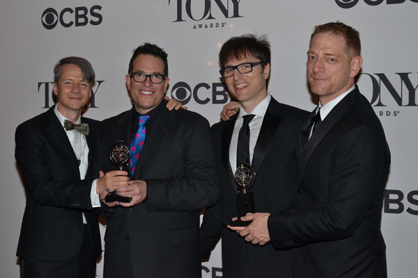 Book writer John Cameron Mitchell, director Michael Mayer, composer Stephen Trask, and producer David Binder celebrate their Tony win for Best Revival of a Musical for Hedwig and the Angry Inch.