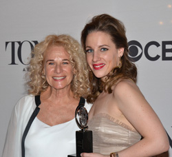 2014 Tony Award winner for Best Performance by an Actress in a Leading Role in a Musical Jessie Mueller poses with Carole King, who she plays in Beautiful — The Carole King Musical.