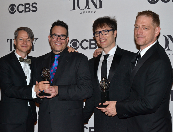 John Cameron Mitchell, Stephen Trask, and David Binder pose with Hedwig director Michael Mayer.