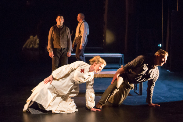 Tamara Hurwitz Pullman and Bill Pullman (foreground) along with George Hirsch and Keith A. Thompson perform in Healing Wars at Arena Stage at the Mead Center for American Theater.