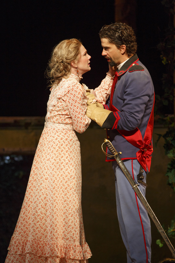 Lily Rabe as Beatrice and Hamish Linklater as Benedick in the Shakespeare in the Park production of Much Ado About Nothing, directed by Jack O'Brien.