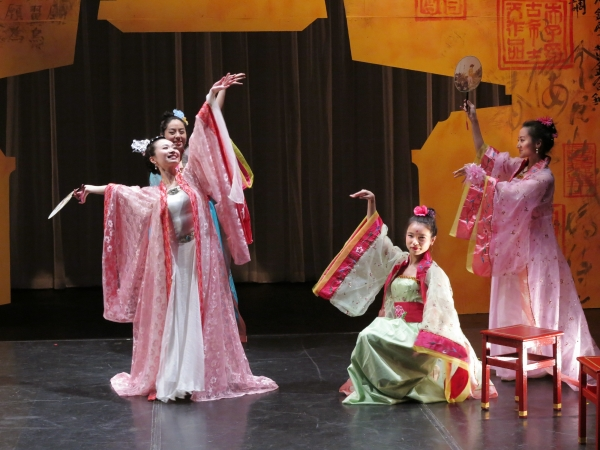 Ashley Liang (left) stars as Yu-Huan, with Ava Cheung, Alison T. Chi, and Lu Zhao as her sisters, in Yangtze Repertory Theatre's production of The Story of Yu-Huan, written and directed by Joanna Chan, at Theater for the New City.
