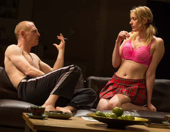Scott Shepherd as Oliver and Greta Gerwig as Becky in Sam Gold's production of Penelope Skinner's The Village Bike at the Lucille Lortel Theater.