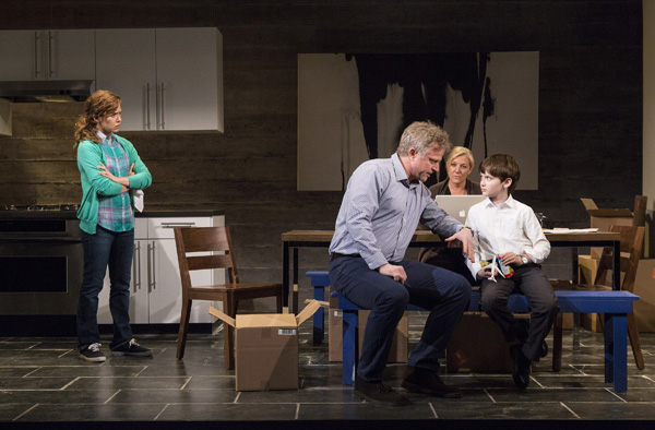 Lisa Joyce, CJ Wilson, Mary McCann, and Henry Keleman star in Nancy Harris' Our New Girl, directed by Gaye Taylor Upchurch, at Atlantic Theater Company's Stage 2.
