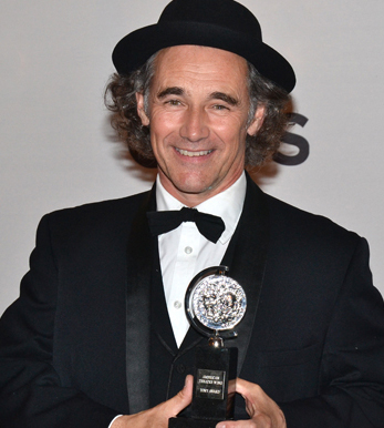 Mark Rylance, who will join the cast of a new Stephen Spielberg film, poses with his 2014 Tony Award.