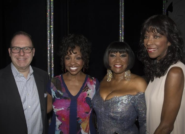 Producer Scott Sanders joins his summer guest stars — Patti LaBelle, Gladys Knight, and Natalie Cole — backstage at the Brooks Atkinson Theatre.