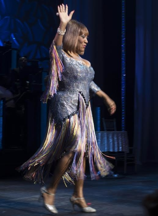 Grammy winner Patti LaBelle takes her first bow in After Midnight onstage at the Brooks Atkinson Theatre.