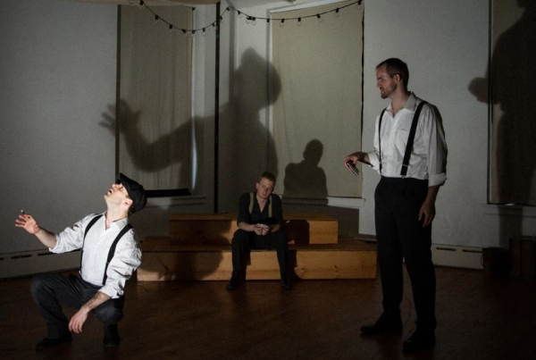 John C. Egan as The Ghost, with Brendan Spieth as Hamlet and Michael Markham as Claudius.