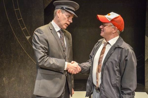 Bill Champion as Quentin and Kim Wall as Barry in Alan Ayckbourn's Arrivals & Departures.