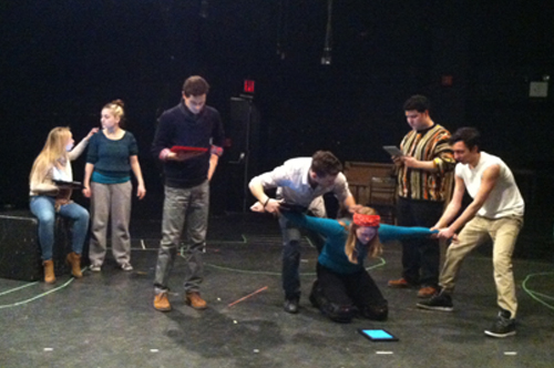 Actors at Queens College rehearse Shakespeare's All's Well That Ends Well using Scriptopia.