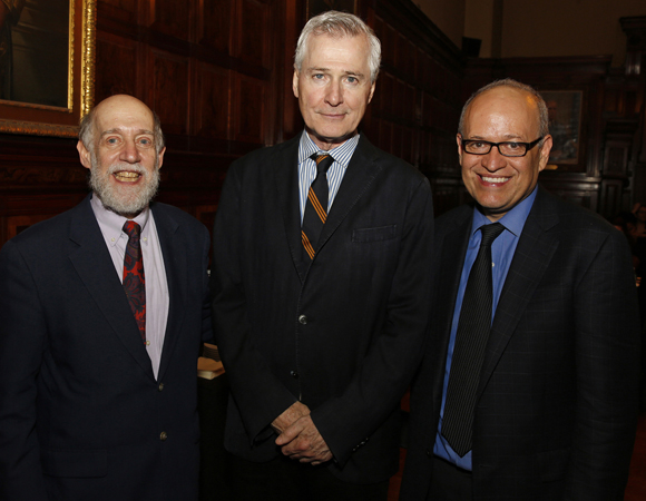 Manhattan Theatre Club Director of Education David Shookhoff, playwright John Patrick Shanley, and New York City Commissioner of Cultural Affairs Tom Finkelpearl at the benefit.