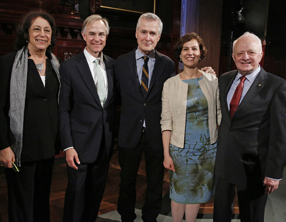 Lynne Meadow, Theodore Wiprud, John Patrick Shanley, Kati Koerner, and Terence Moran attend the NYC Arts in Education Roundabout Benefit.