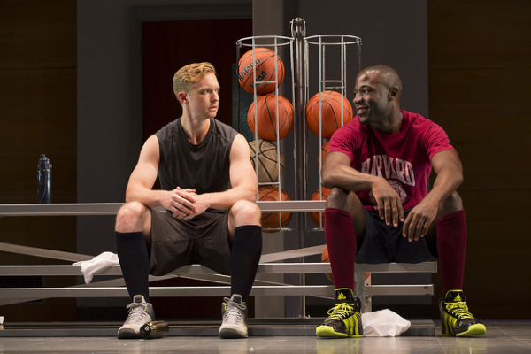 Roderick Hill as Brian and McKinley Belcher III as Jackson in Lydia R. Diamond's Smart People, directed by Peter DuBois, at Boston's the Huntington Theatre Company.