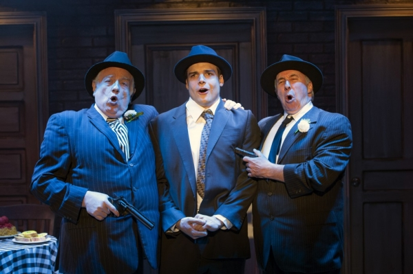 "Fat Tony (Ed Dixon), Nick Cutter (Doug Carpenter), and Gino (Christopher Bloch) sing ""Who Put the Mob In"" in Cloak and Dagger, playing at Signature Theatre through July 6."